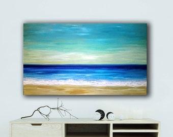 Seascape original painting | Wedding gift |Seashore large painting | Contemporary painting |  Anniversary gift | Coastal decoration |