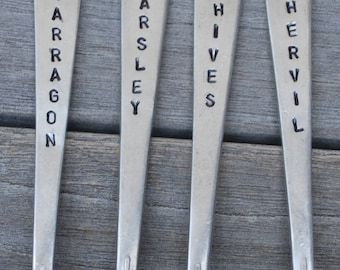 "FRENCH HERB Garden Marker Stakes 4"" Tarragon * Parsley * Chives * Chervil *hand stamped  SET of 4"