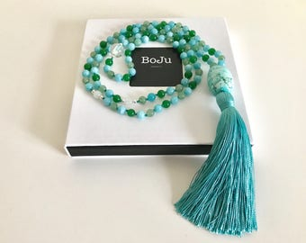 Mala Beads - Mala Necklace - 108 Mala - Bright Mala - meditation beads - gemstone mala - prayer beads - yoga beads - long tassel mala
