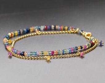 Colorful Sapphire Bracelet. Multi Strand Gold Filled Sapphire Bracelet. B0019