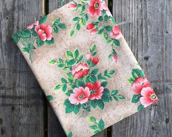 Gorgeousl vintage French fabric 1950s - Rosehip flowers