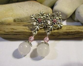 Weiße Jade Ohrringe | Ohrstecker | 925 Sterling Silberohrringe | Strass Ohrringe | Ohrringe weiß | Ohrstecker | Rosa und weiß