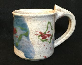 Handmade ceramic coffee mug, pottery tea cup, colorful abstract designs