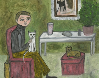 Cecil Hartwig, cat fancier.  Limited edition print by Vivienne Strauss.