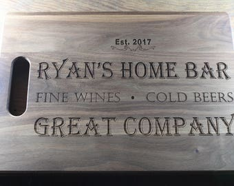 Personalized Cutting Board, Home Bar Decor, Home Bar Sign, Bar Cutting  Board,
