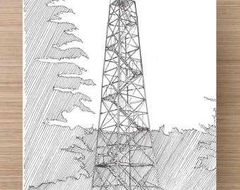 Ink Drawing  of Fire Tower near Watkins Glen - New York, Forest, Ink Drawing, Sketch, 5x7 Print, Art, Drawing, Illustration, Pen and Ink