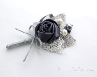 Charcoal Gray Burlap Rosette Boutonniere/ Rustic Boutonniere/Country Wedding Lapel Pin/ Handmade Wedding Accessory
