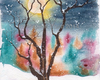 Winter Full Moon Snow Original frozen tree snowy moonlight watercolor painting by M. Pruitt EBSQ SFA