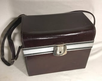 Old camera case bag brown leather Camera + Vintage reinforcements