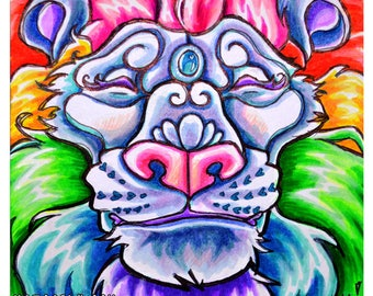 Contented Rainbow - Lion Face - Pride Afalon Candy lion Original Highlighter marker drawing