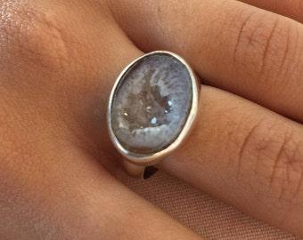 Brown druzy Ring, Druzy silver Ring, Silver druzy Ring, Ring size US 7.5, Oval Ring, Druzy silver Ring, Quartz druzy ring, Rough druzy ring,