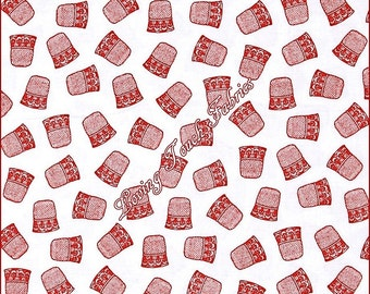 "RJR ""Red"" #2137001 Thimbles Sewing Theme Notions Cotton Fabric Priced Per 1/2 Yd"