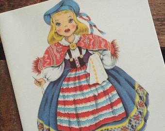 Vintage Dolls of Many Lands Card - Doll of Sweden - Blank Inside - Unused