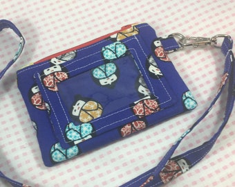 Doll Print Wallet, ID Wallet, ID wallet with Lanyard, Wallet, Coin Purse, Coin Purse With Lanyard, ID Coin Purse