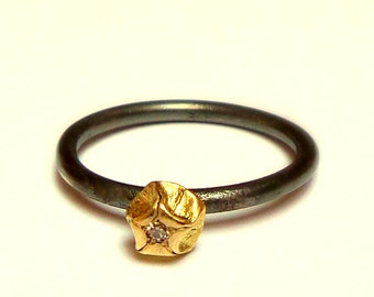Kiss Ring - Gold ring - Silver Ring - 18K Gold and silver Ring - Diamond Ring - Collection seed - Free Shipping!!