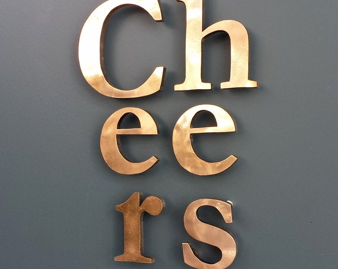 "Real Copper faced 3D letters in 4"" high Upper and lower case - floating  Garamond, Polished and  marine lacquered g"
