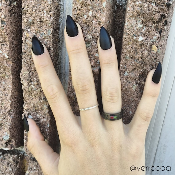Matte Black Stiletto Nails Full Set