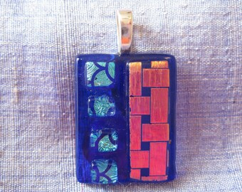 Fused Glass Pendant. Blue and Gold Glass Pendant. Dichroic Glass. Handmade Glass Art. Australian Fused Glass Jewelery. Kiln Fired Glass.
