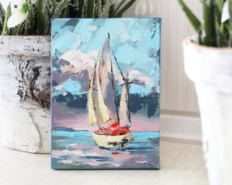 Small landscape oil painting, original oil painting, sunset painting, Ocean Painting, Ocean Wall Art, Modern Art, Sea painting, on canvas