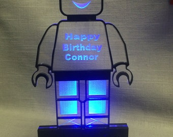 Robot Personalized LED lighted Cake Topper by AcryLEDdesigns