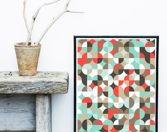 Mid Century Print, Retro Print, Geometric Wall Art, Printable Art,  Geometric Art, Wall Decor, Abstract Art Print, Home Decor, Wall Art