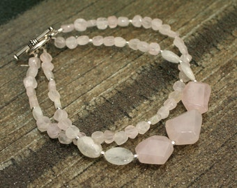 Rose Quartz and Moonstone Bracelet, Pink Bracelet, Gift for Her, Mother's Day