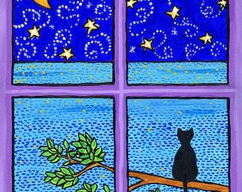 "Black Cat, ocean, purple, moon stars - 11 x 14"" Print by Shelagh Duffett"