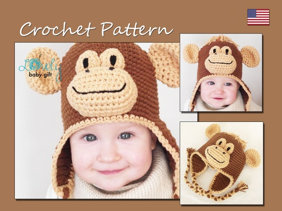 Crochet Hat Pattern Winter Hat Monkey Hat Crochet Pattern Baby
