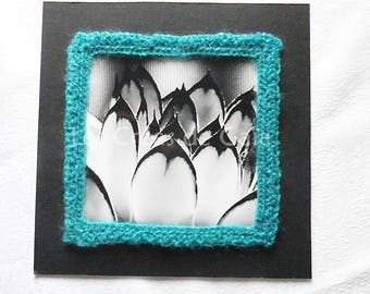 Amulet, black and white photography personal • • frame frame picture and crochet • handcrafted