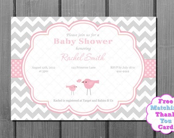 Pink and Grey Chevron Momma Bird Girl Baby Shower Invitation and FREE Thank You Card Printable DIY