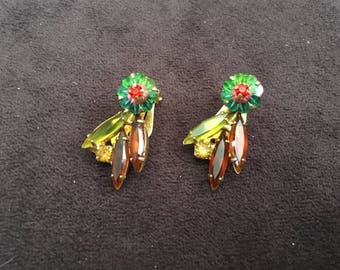 Juliana D&E Watermelon Margarits with Hyacinth, Periot and Brown Rhinestone Earrings 1340