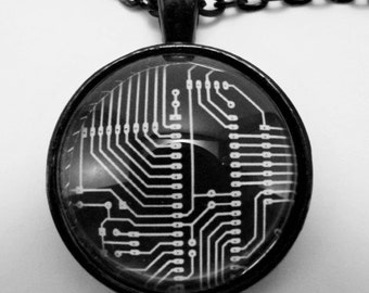 CIRCUIT BOARD Necklace -- Geekery necklace for electronics and computer buffs, Technology art in white on black