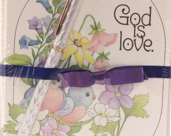 """Vintage """"God is Love"""" Bluebird Greeting Cards and Envelopes by Constance. 12 Sealed and Pen"""