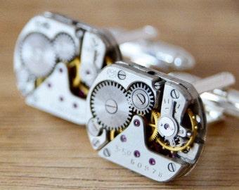 Steampunk cufflinks, mens cufflinks, gifts for men, gift for him, groomsmen gifts,