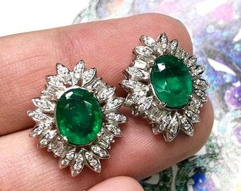 Luxurious! 6.12TCW Emerald & VS Diamonds in 18K solid white gold earrings studs natural zambian colombian gift estate vintage art deco huge