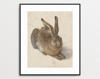 Hare 1502 - Albrecht Durer - Junger Hase- Giclee Reproduction -  Rabbit - Woodland Animal - Wall Art - Home Decor - 16th Century