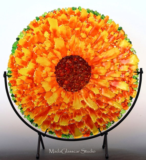 Sunflower Fused Tempered Glass Bowl