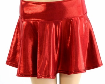 Red Metallic Print Circle Cut Mini Skirt Rave Clubwear Festival EDM - 154176