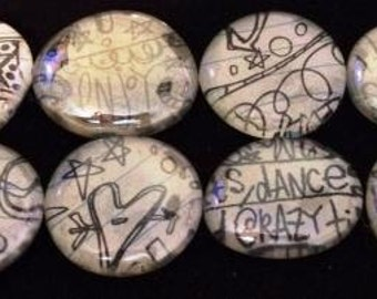 Recycled Glass Bubble Magnets-Doodles