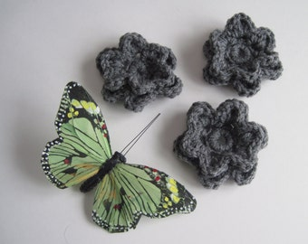 3 Crochet Pedal Flowers - Set of 3 - Heather Gray Yarn