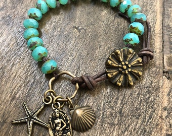 Turquoise Mermaid Bracelet Summer Wrap Bracelet Seahorse Beach Boho Bracelet Rustic Mermaid Jewelry Two Silver Sisters