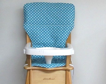 high chair pad, eddie bauer wooden chair baby accessory replacement cushion, baby and child, jenny lind pad, white dots on turquoise