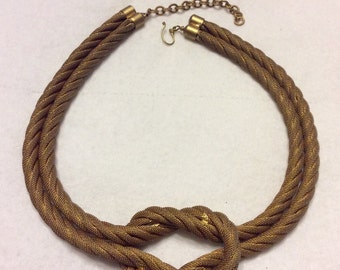 Sarah Cavender vintage double strand mesh knot necklace.