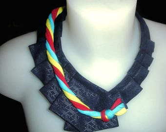 """""""Upcycled"""" multicolored silk tie necklace"""