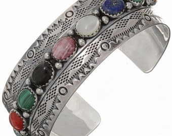 Turquoise Multi Gemstone Cuff Bracelet Navajo Hammered Silver