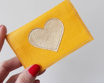 """Leather wallet """"Cerulean"""" decorated with a Japanese fabric lining stitched gold heart pattern"""