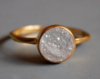 Gemstone Ring - Druzy Ring - Round Shape - Stacking Ring