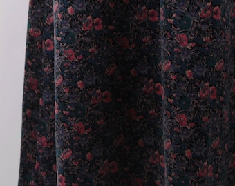 Vintage, Velvet, Floral Skirt, Flower Pattern, Winter, Autumn, High Waist, A-Line, Pockets, Dark Colors, Pink, Green, Blue ~ 160923