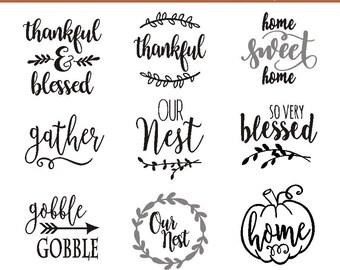 SVG thanksgiving bundle / thankful SVG / farmhouse style  / home sweet home Cricut / farmhouse SVG / our nest / farmhouse gather