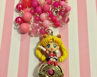 Sailor Moon // Compact // Pink // Beaded Necklace